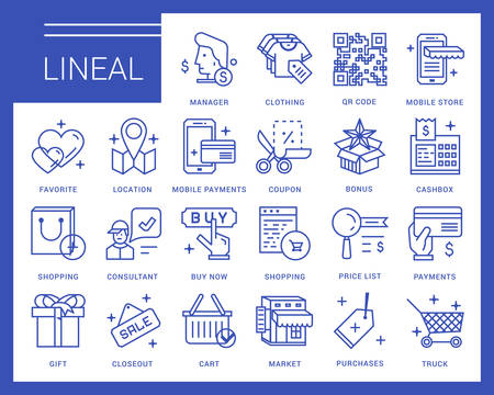 price list: Line  icons in a modern style. Online shopping and e-commerce, price list, mobile store, mobile payments. Illustration