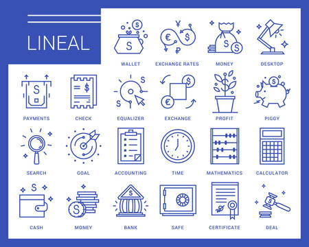 Line icons in a modern style. Business and finance, exchange rates, financial services, banking environment and business space.