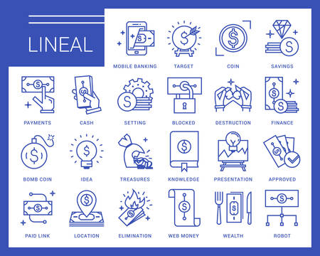 Line icons in a modern style. Business and finance, mobile payments, e-currency, speculation, mobile banking.