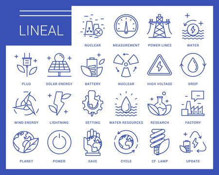 Iconos de comunicación en un estilo moderno. La industria pesada, la generación de energía, los recursos hídricos, la contaminación y fuentes de energía respetuosas con el medio ambiente. Ilustración de vector