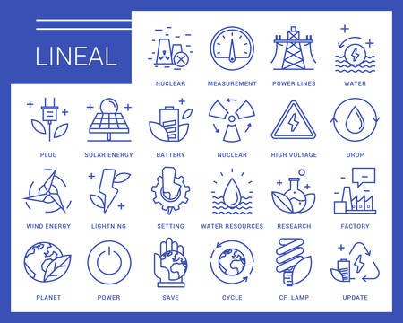 environmental: Line icons in a modern style. Heavy industry, power generation, water resources, pollution and environmentally friendly energy sources. Illustration