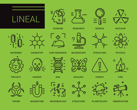 biophysics: Line vector icons in a modern style. Scientific experiments, physics and chemistry, biology, microbiology, nuclear, biological weapons of mass destruction, medical testing on animals. Illustration