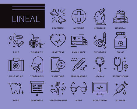 Line vector icons in a modern style. Medical assistance online, hospitalized patients, first aid kit, vision loss, emergency medical care, dental care, vegetarianism and healthy lifestyle Ilustração