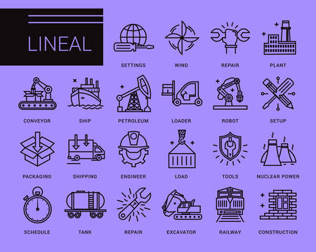 conveyer: Line vector icons in a modern style. Heavy industry, delivery of goods by land, air and sea transport, species by professional activities, railways, conveyer Illustration