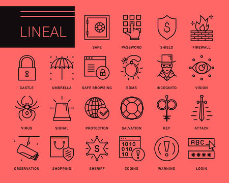 data line: Line vector icons in a modern style. Secure connection and access to the Internet, access protection, virus threats, scan the system and data protection. Illustration