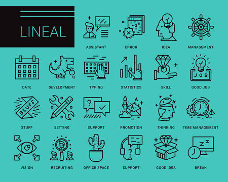 invent things: Line vector icons in a modern style. Search and selection of staff, Support and Assistance in Problem Solving, Jobs in the Corporation Illustration