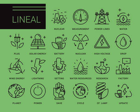 environmentally friendly: Line icons in a modern style. Heavy industry, power generation, water resources, pollution and environmentally friendly energy sources. Illustration