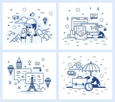 foreign language: Set of vector illustrations in modern linear style, tourist destinations, vacation and business trip, wound with a Foreign Language.