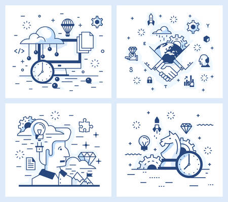 contracting: Set of vector illustrations in modern linear style, contracting, development strategy, achievement of results, the search ideas and inspiration, the desktop.