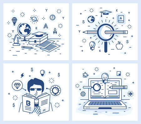 scientific literature: Set of vector illustrations in modern linear style, online education, search for knowledge and the pursuit of excellence, self-education and development, online tutorial.