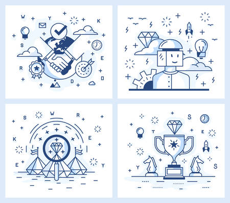 quality check: Set of vector illustrations in modern linear style, conclusion of a deal, search for ideas, source of inspiration, achievement of results, the quality check. Illustration