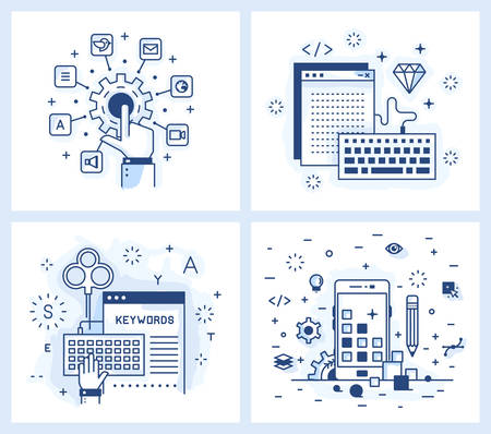 Set of vector illustrations in modern linear style, tuning applications, programming and design applications, keyword selection, adaptive design.