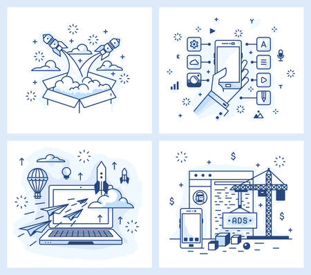 functionality: Set of vector illustrations in modern linear style, the launch of the project, a list of applications, detailed design, site development, Illustration