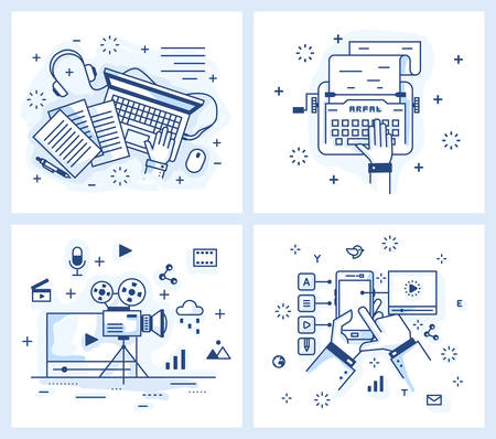 publishing: Set of vector illustrations in modern linear style, text editing, publishing, typewriter and a laptop,