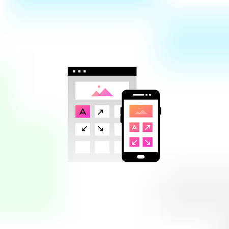Vector icons on the theme of adaptive design. Иллюстрация