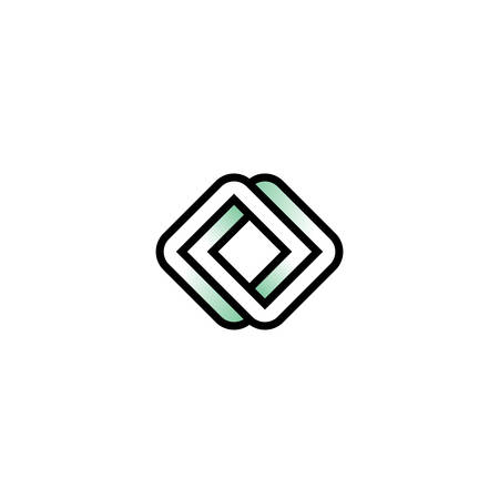 Impossible infinite square vector logo in flat style.