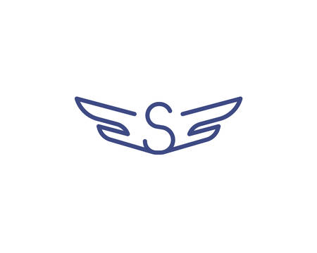 Letter S with wing. Template for logo . Vector illustration.  イラスト・ベクター素材