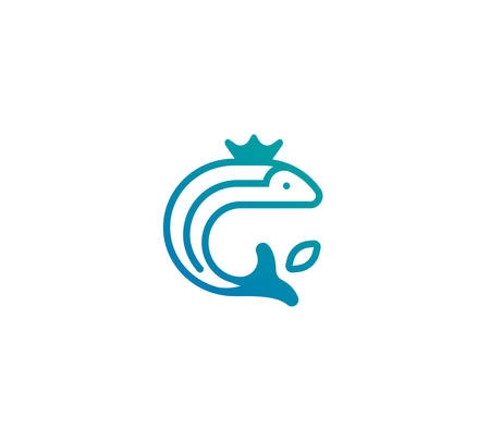 fisheries: Logo of a fish jumping out of the water with a crown on its head. Vector illustration in a modern linear style. Illustration