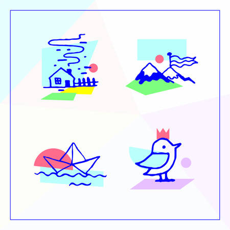 Set icons in the modern unique Memphis design. Modern vector illustration in a unique design house in the village, mountains, paper boat floating on the waves and media bird with a crown on his head.