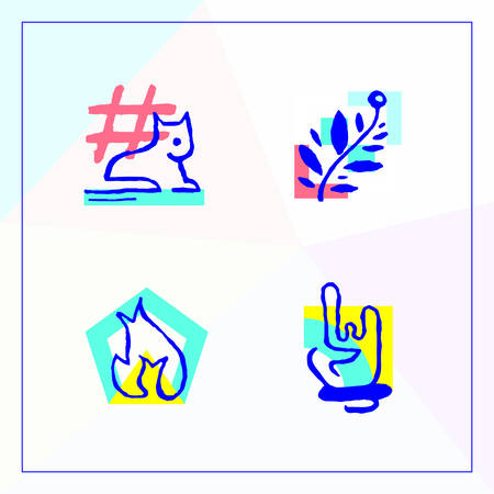 Set icons in the modern unique Memphis design. Abstract vector image with an animal, branch, flame and hand rock and roll.  イラスト・ベクター素材