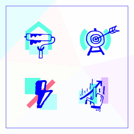 Set of business icons in the modern unique design, Renovation and redesign, goals and objectives, a lightning strike, the analysis of incidence and growth.