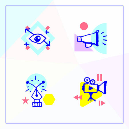 A set of vector icons in a modern Memphis style. Expanding horizons, content distribution, web design and video production.