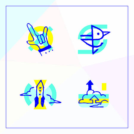 Set of business icons in the modern unique design, Modern vector illustration of a unique design with a picture of a rock and roll gesture, birds symbolizing social network stratap and cloud storage.