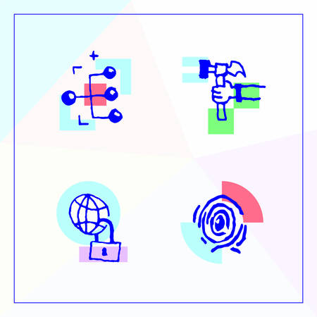 A set of vector icons in a modern Memphis style. Dissemination of information, a secure Internet connection, access via fingerprint  イラスト・ベクター素材