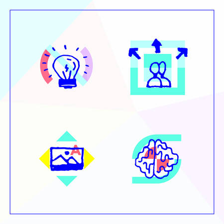 Set of business icons in the modern unique design, brain storming, find inspiring and unique ideas.  イラスト・ベクター素材