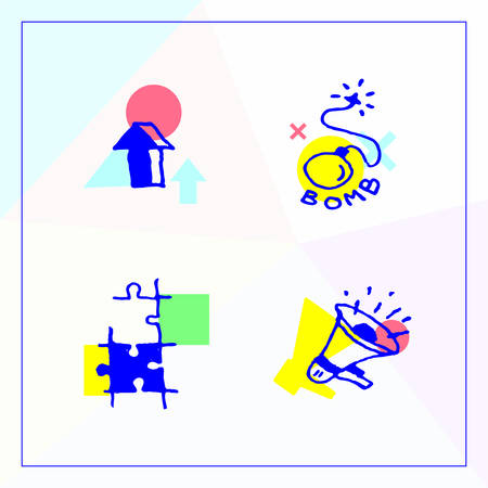 Set of business icons in the modern unique design, growth and results, viral marketing PR and market research.  イラスト・ベクター素材