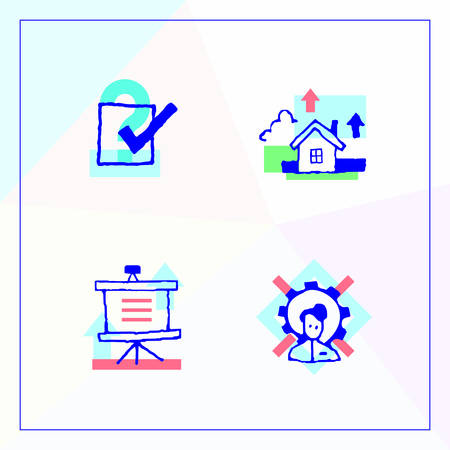 validated: Set of business icons in a modern design, voting and social surveys, recruitment and organization of conferences.