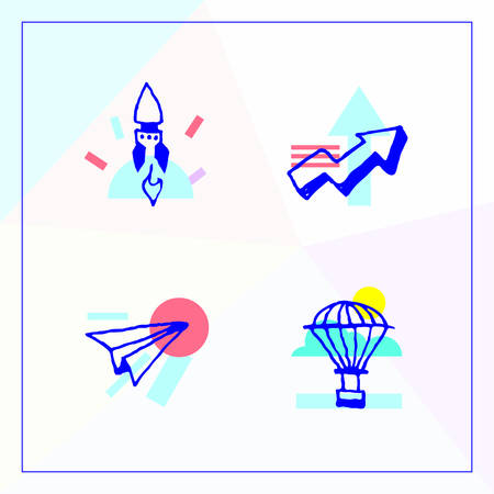 Icon set for business start up, successful business and growth, goals and results. Modern vector illustration in unique style with the image of rocket, arrow, paper plane and hot-air baloon.