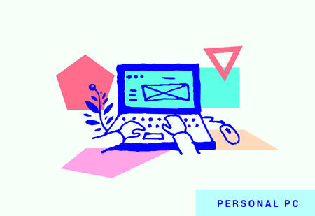 Computer operation. Modern vector illustration in unique style of a person working with mail service, mail sorting, message sending. Free-hand drawing style with geometric shapes on the background.  イラスト・ベクター素材