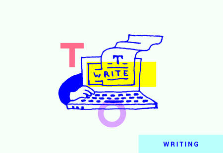 Unique content creation. Modern vector illustration of a hand typing text on a lap top. Free-hand drawing style.