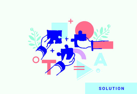 Business solutions.Vector illustrations in a modern style hands with pieces of puzzle, teamwork, success and strategy concept. Free-hand drawing style.