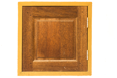 casement: External side of a casement wooden window with shutters closed isolated Stock Photo