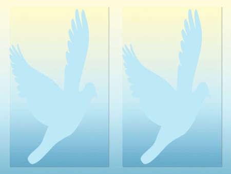 azul: Cartão azul do whit pombos Stock Photo