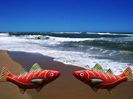 gua: Talking fish aut of water Stock Photo