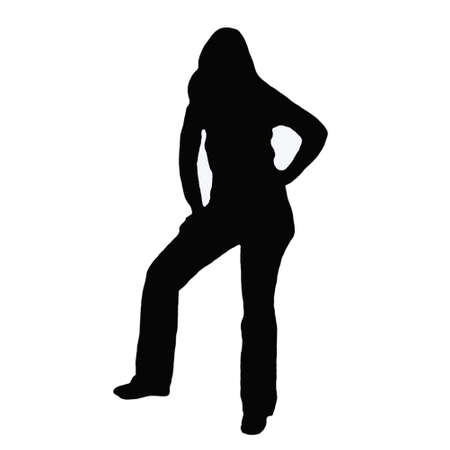 blak and white: Female silhouette on white background