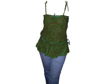 discreto: Establecer blusa de verano y los pantalones vaqueros Foto de archivo