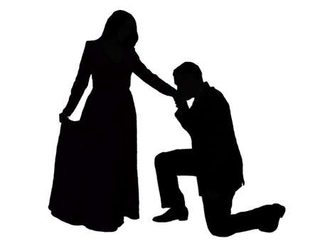 courteous: Couple silhouette with courteous gesture