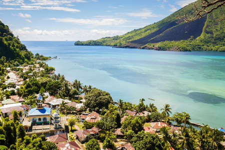 island: View over banda Besar and Banda Islands Maluku Indonesia volcano Stock Photo