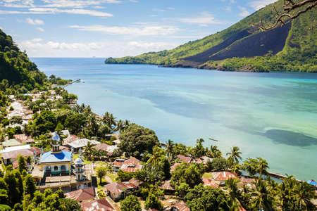 View over banda Besar and Banda Islands Maluku Indonesia volcano Stock Photo