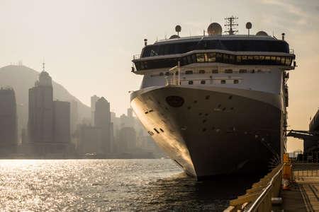 HONG KONG, CHINA - DECEMBER 22, 2014: Cruise ship at Kowloon pier. Hong Kong is popular travel destination with over 40 millions visitors per year.