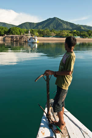Komodo Island, Indonesia - February 4, 2010: Local fishing boat about to enter Komodo Island.