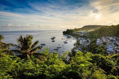 View Pulau Run just after sunrise, Banda Islands, Maluku, Indonesia