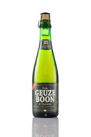 EINDHOVEN, THE NETHERLANDS - JULY 23, 2015: A bottle of Boon Geuze beer isolated on a white background. Gueuze or Geuze is a type of lambic, a Belgian beer. Editorial