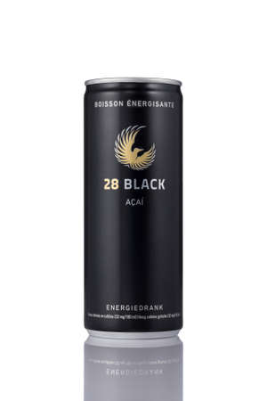 A can of 28 Black energy drink on a white background. 28 Energy is a popular energy drink with acai fruit.