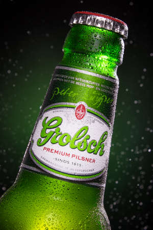 Detail of a green Grolsch beer bottle