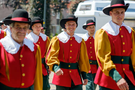 CASTEREN, THE NETHERLANDS - JULY 5, 2015: Members of a traditional guild on Free Guild Day.